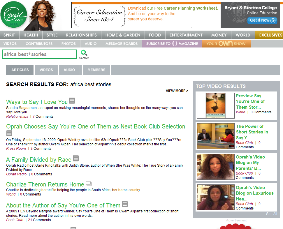 Oprah search result