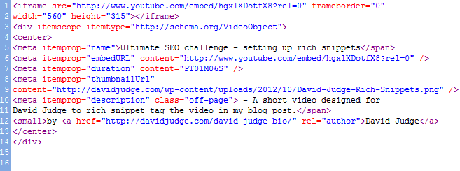 Marked up code for Rich Snippets in video