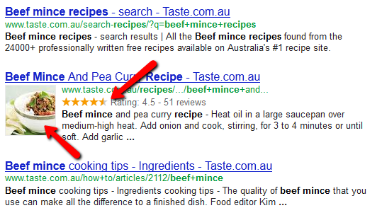 Check Out Rich Snippets in Action Searching For Beef Mince Recipes