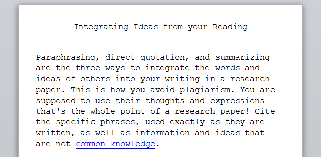 integrating ideas from your reading