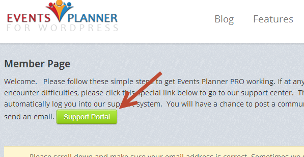 Support Portal button