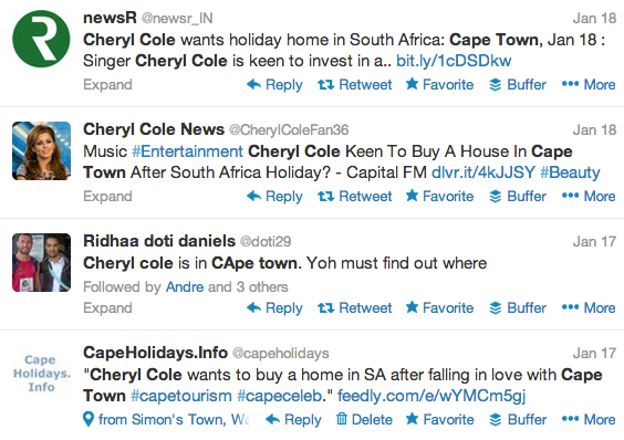 Cheryl Cole Buying House In Cape Town