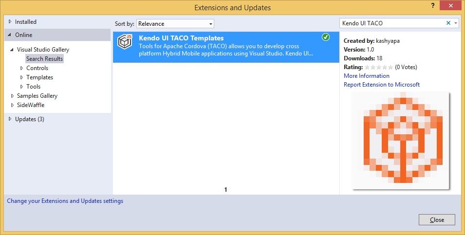 Visual Studio Extensions & Updates Dialog