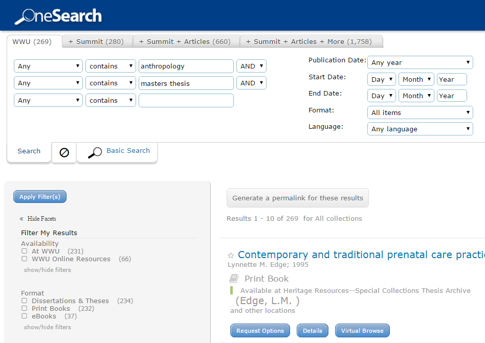 Search results for anthropology masters thesis in WWU library catalog.