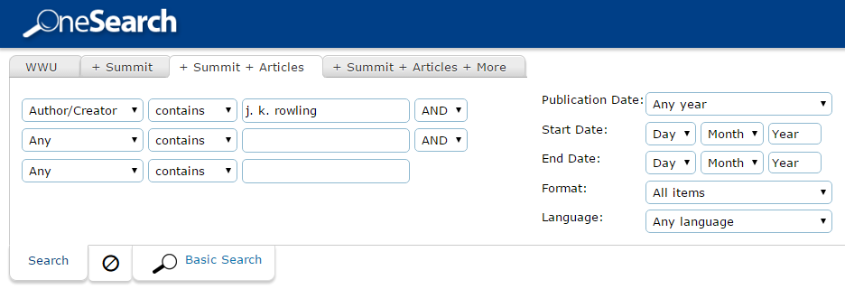 Example of an author search in WWU library catalog.