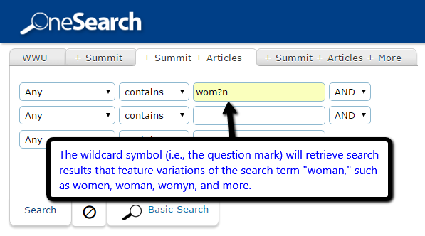 Example of wildcard searching in WWU library catalog.