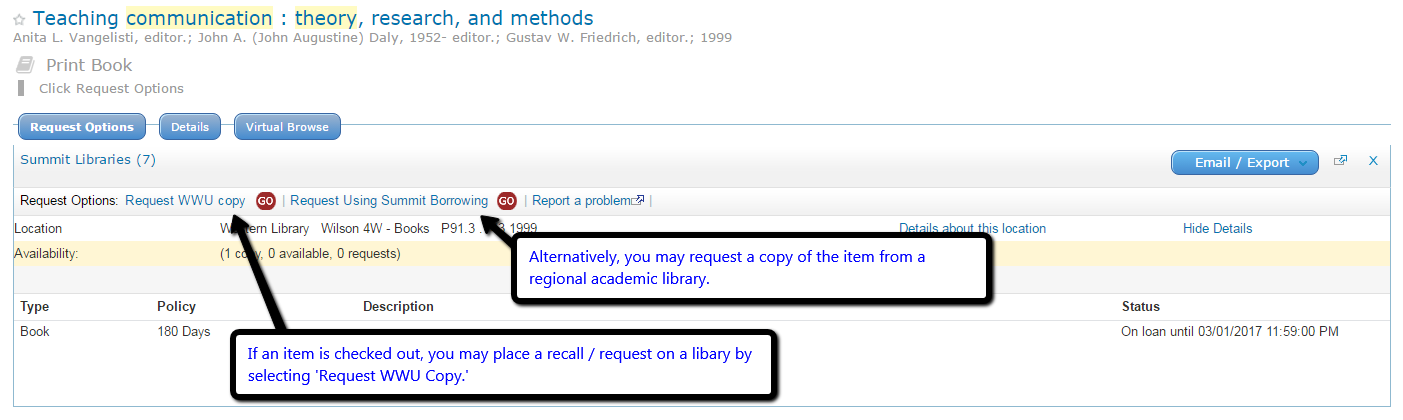Item record within WWU library catalog.