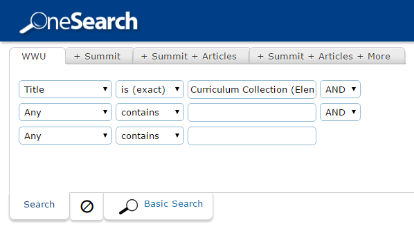Example of searching for curriculum collection in WWU library catalog.