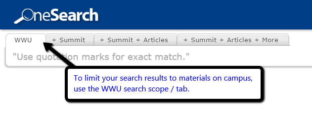 Search scopes in WWU library catalog.