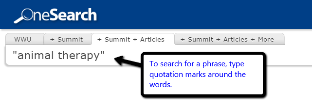 Example of phrase searching in WWU library catalog.