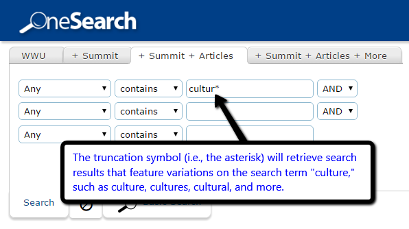 Example of truncation searching in WWU library catalog.