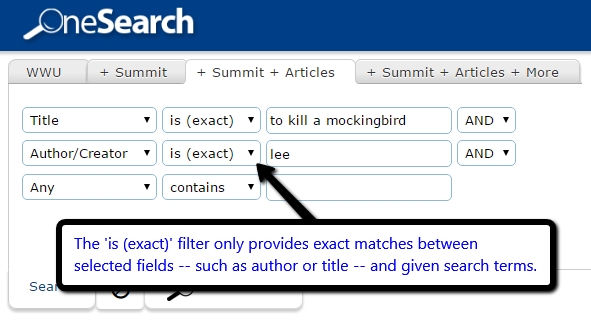 Search example using a specific pre-filter.