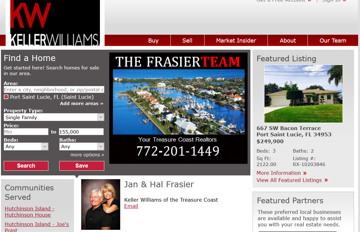 Frasier Team Treasure Coast Keller Williams Realty.
