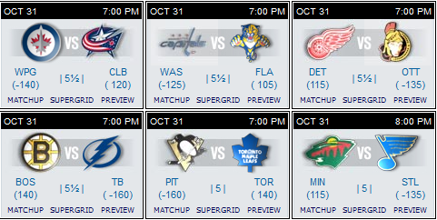 NHL sked 31 Oct 15