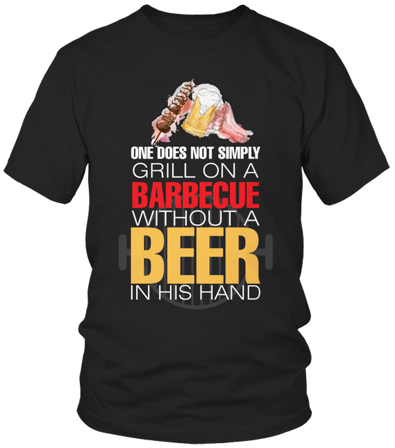 without a beer in his hand ... barbecue t-shirt BBQ