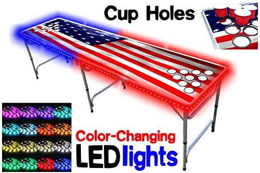 8-foot professional beer pong table with cup holes and LED lights