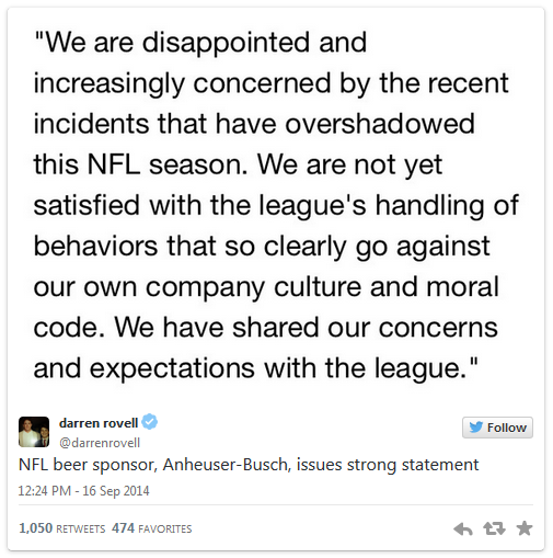 Anheuser-Busch tweet re NFL and domestic violence