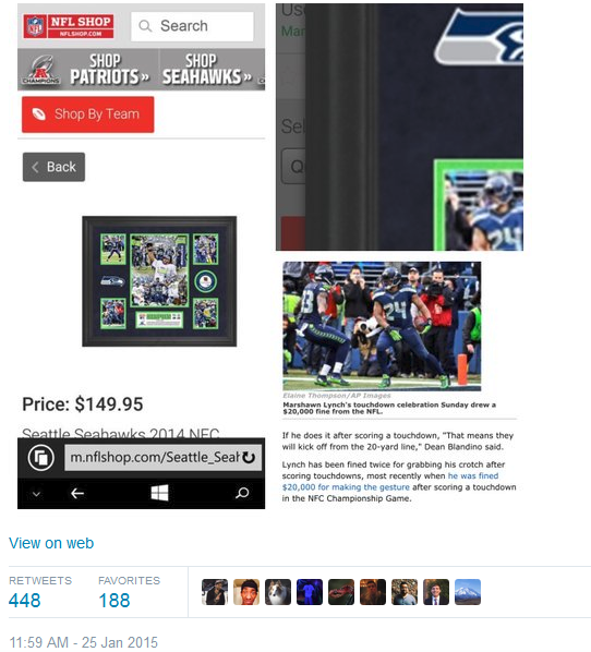 Sando tweet re NFL selling crotch shot photo 2