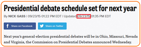 Presidential debate dates for 2016