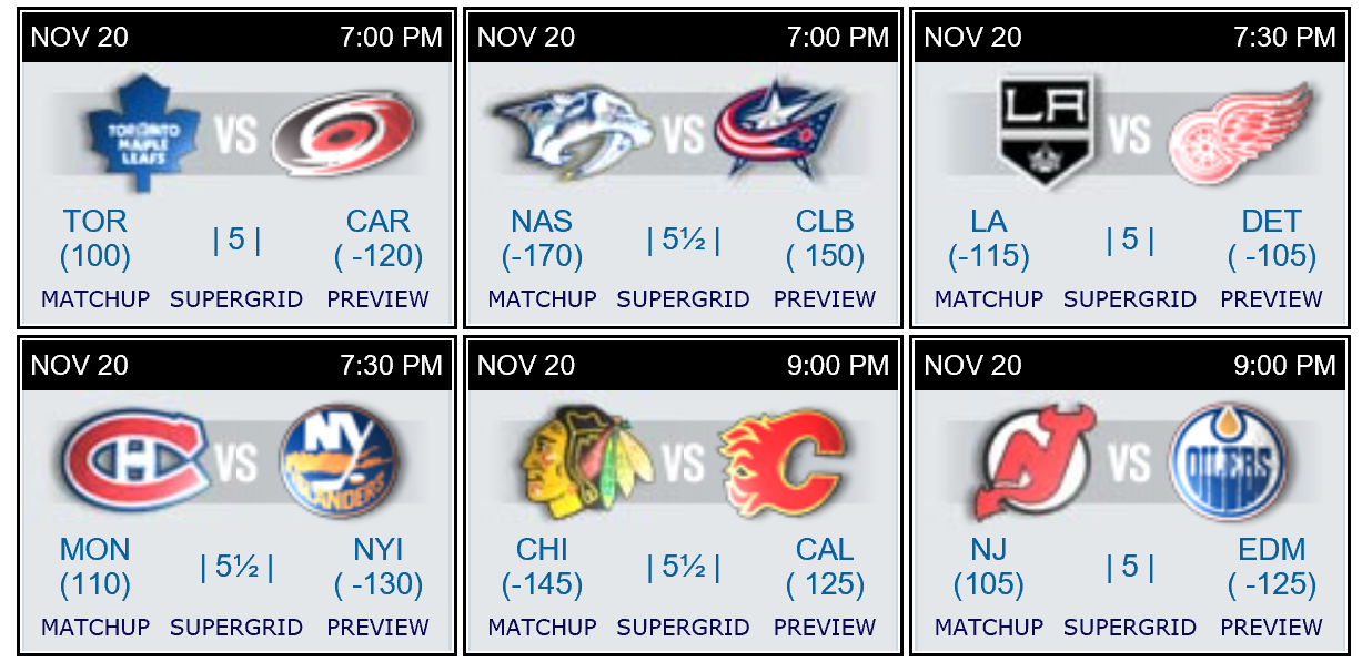 Bovada NHL schedule 20 Nov 2015