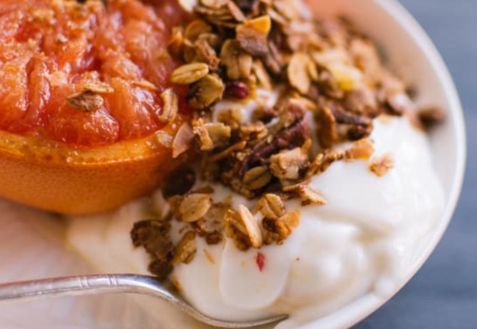 Broiled Grapefruit with Yogurt and Granola