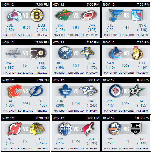 NHL schedule 12 Nov 2015