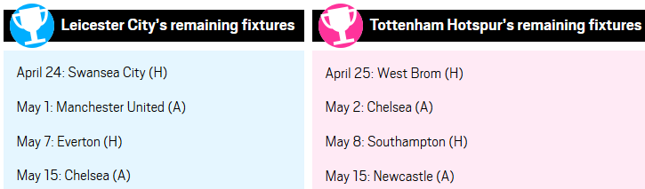 Leicester City and Tottenham remaining fixtures
