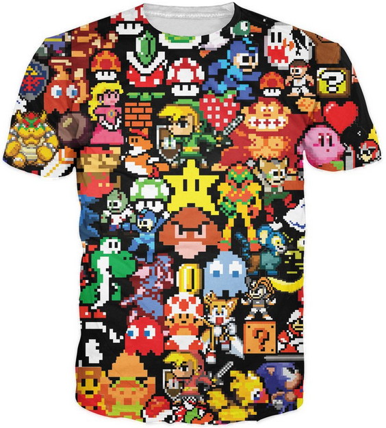 arcade collage t-shirt