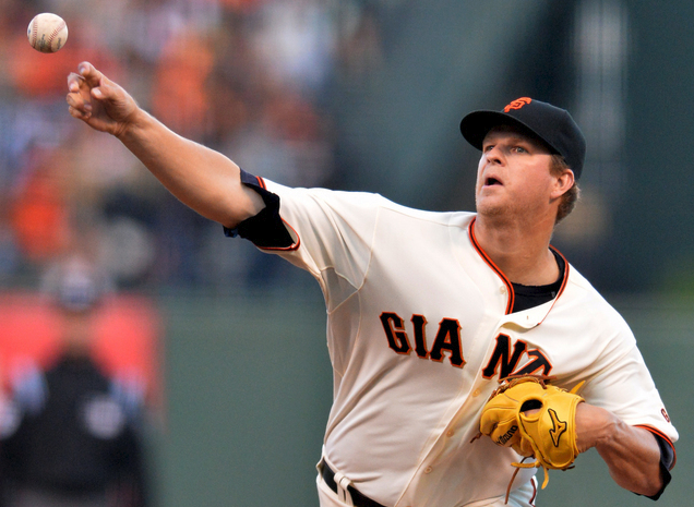Matt Cain giving it all for the Orange and Black