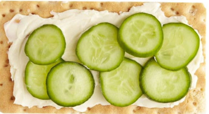 Whole-Wheat Crackers with Cheese Spread and Cucumbers