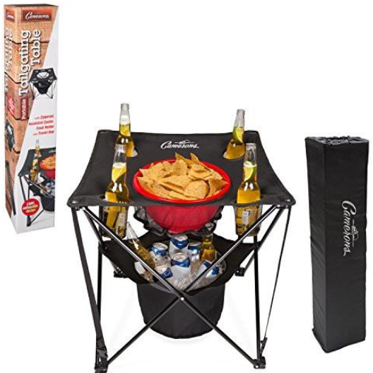 collapsible, foldable tailgating table with its insulated cooler, food basket, and carry bag