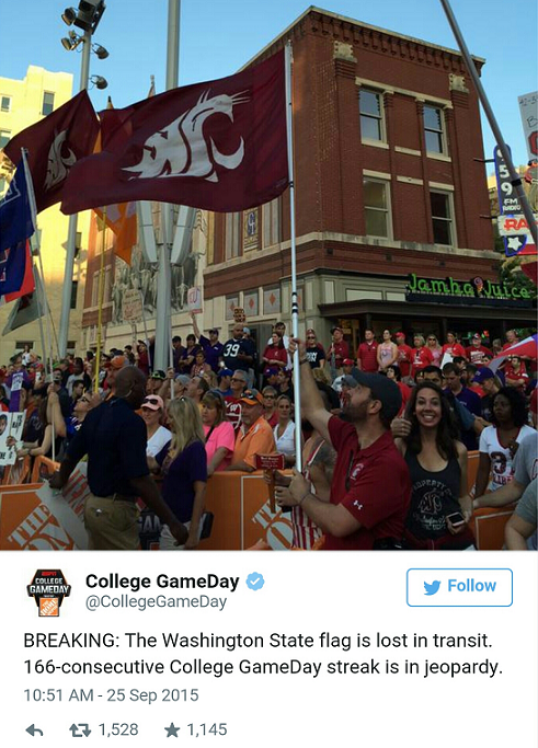 Wazzu flag missing