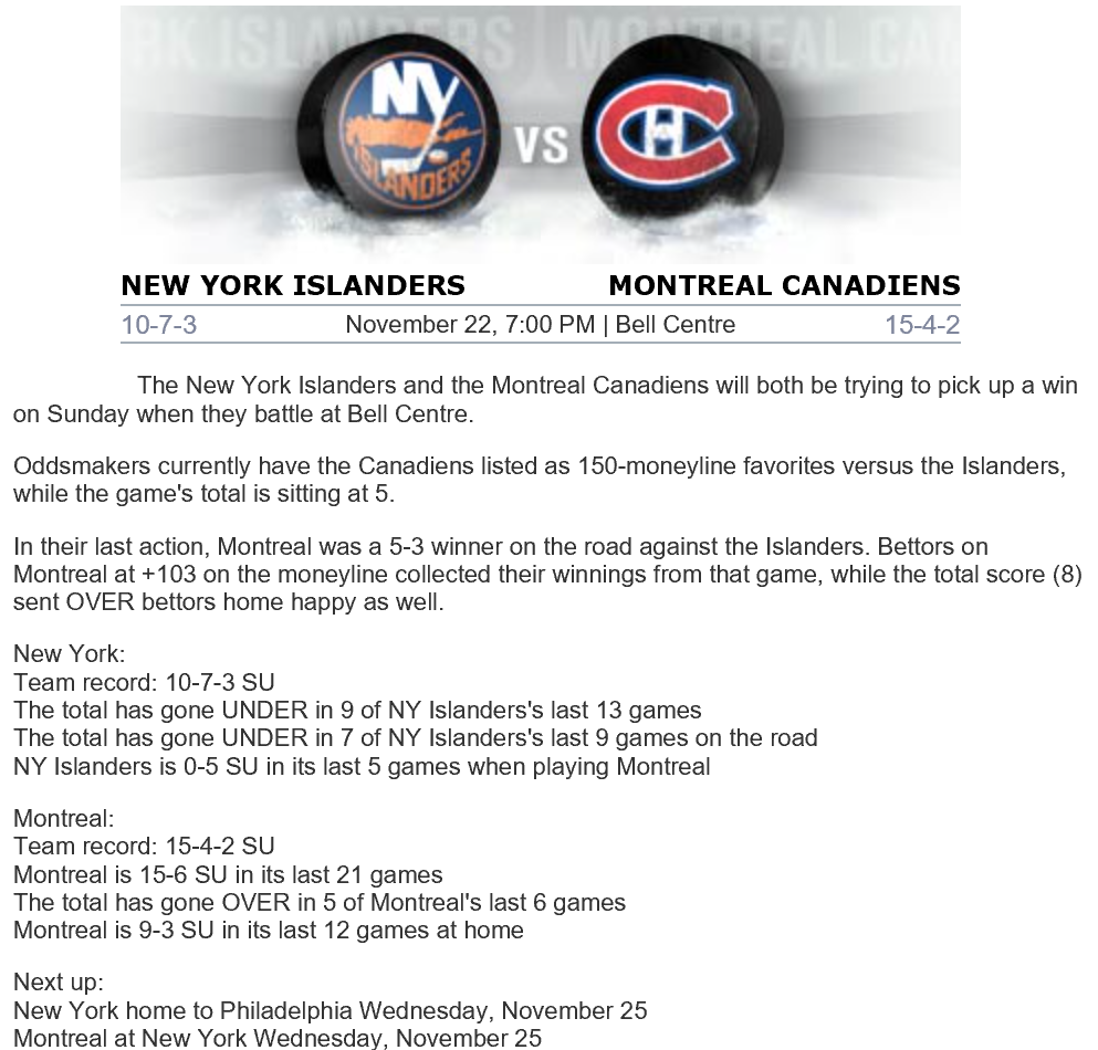 Islanders v Canadiens preview