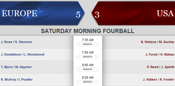 Ryder Cup session 3 lineups