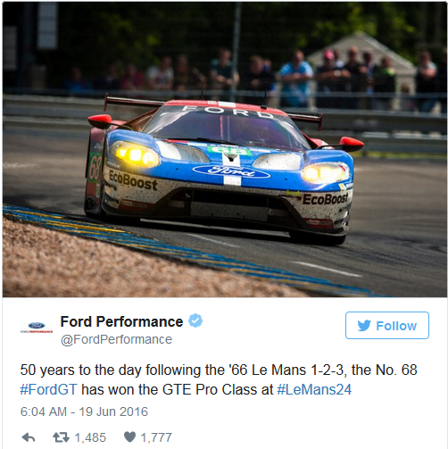 Ford GTE wins LeMans