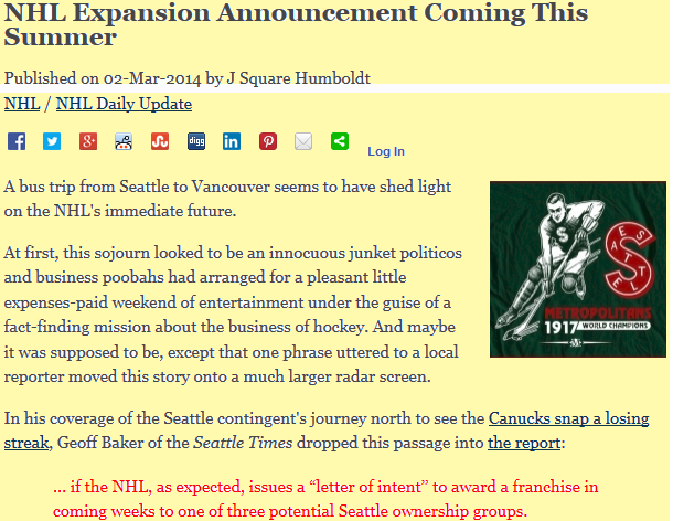 The Daily Player, NHL to Seattle