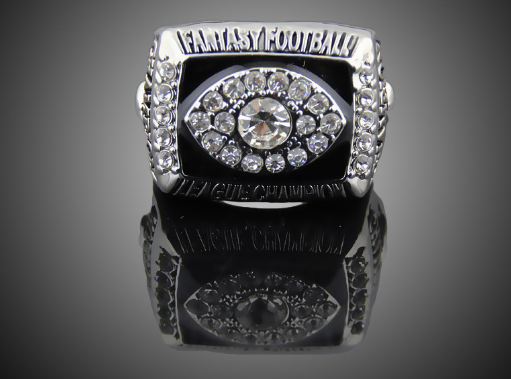 silver plated fantasy football champions ring