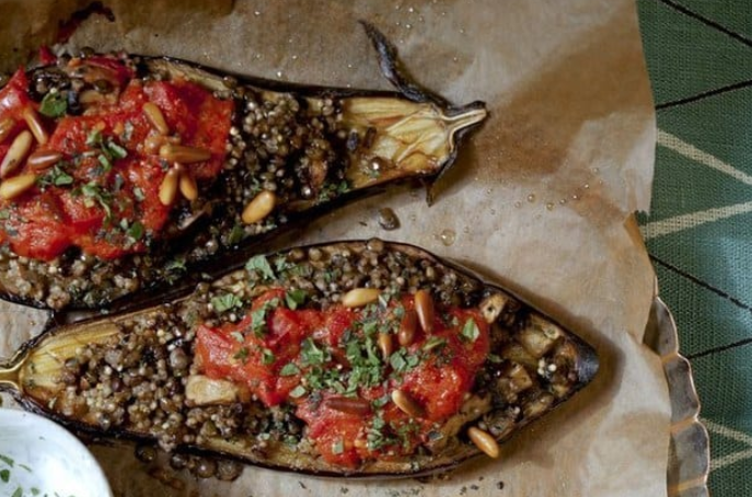 Stuffed Eggplant with Lentils and Millet