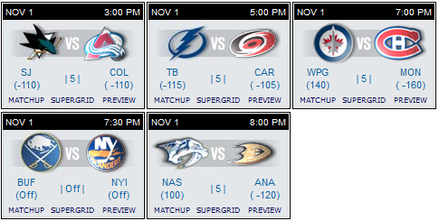 NHL schedule 1 Nov 15