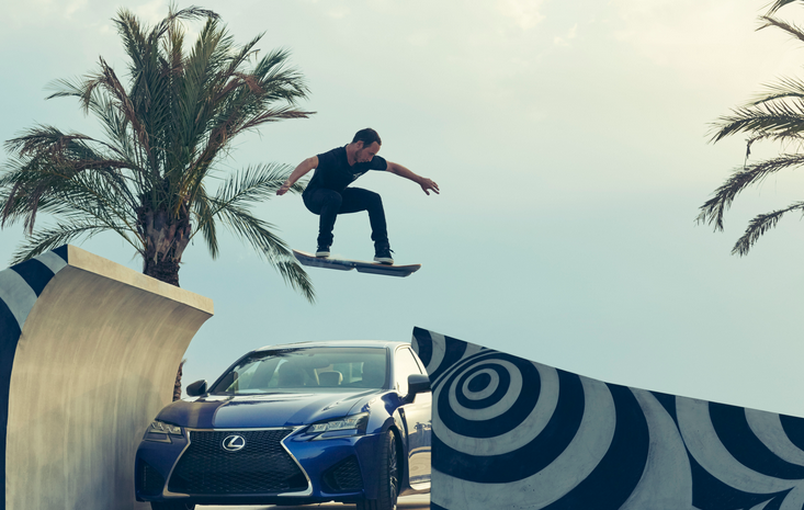 hoverboad jumping a Lexus