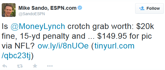 Sando tweet re NFL selling crotch shot photo 1