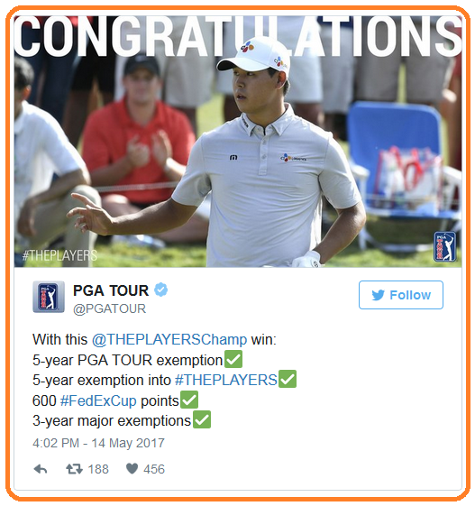Kim congratulatory tweet from PGA