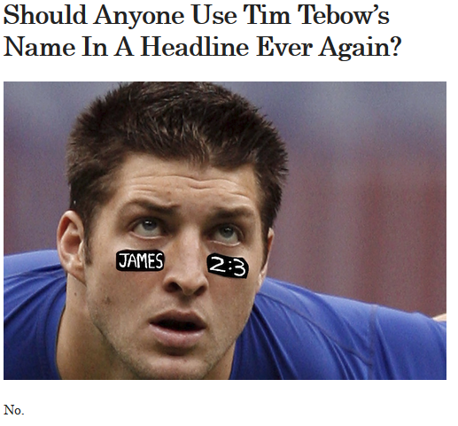 Tebow in headlines