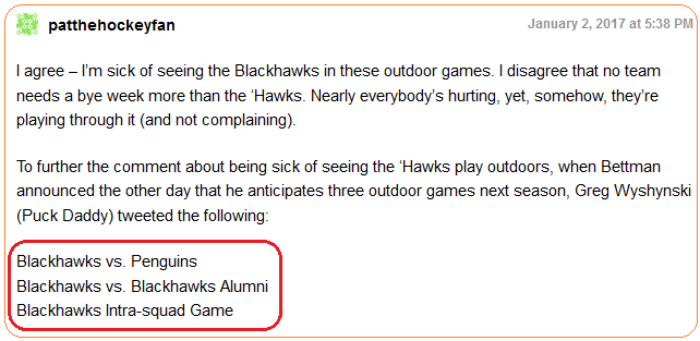 Blackhawks comment