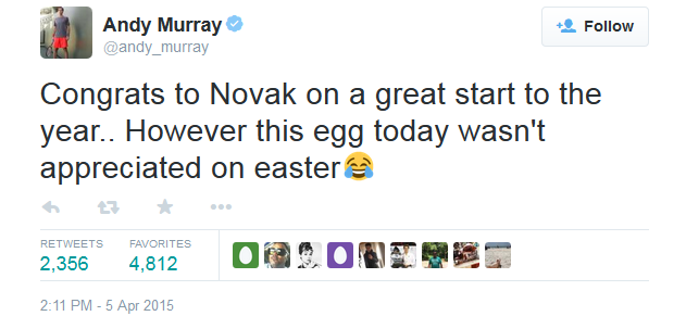 Andy Murray Easter egg tweet