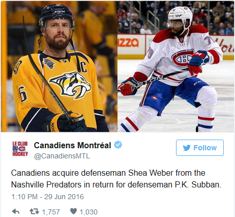 Weber for Subban