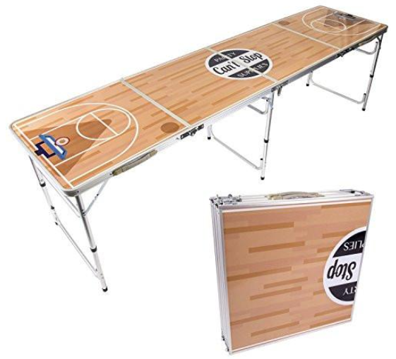 basketball court themed, foldable beer pong table with adjustable height options