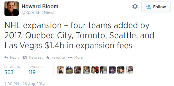 NHL will expand by 2017