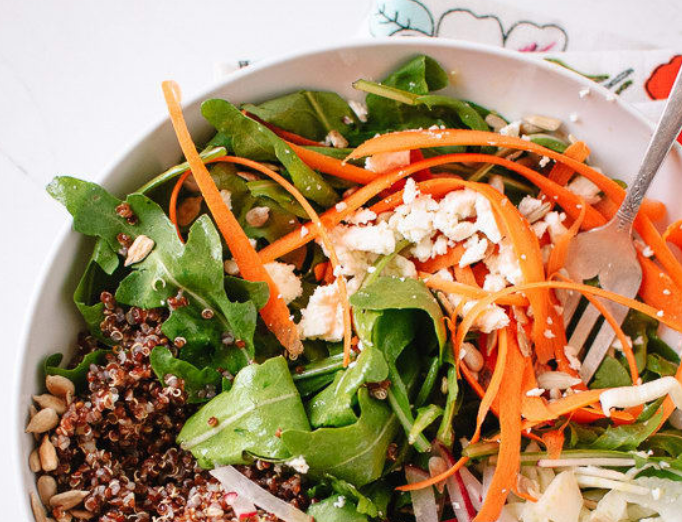 Spring Carrot, Radish, and Quinoa Salad with Herbed Avocado