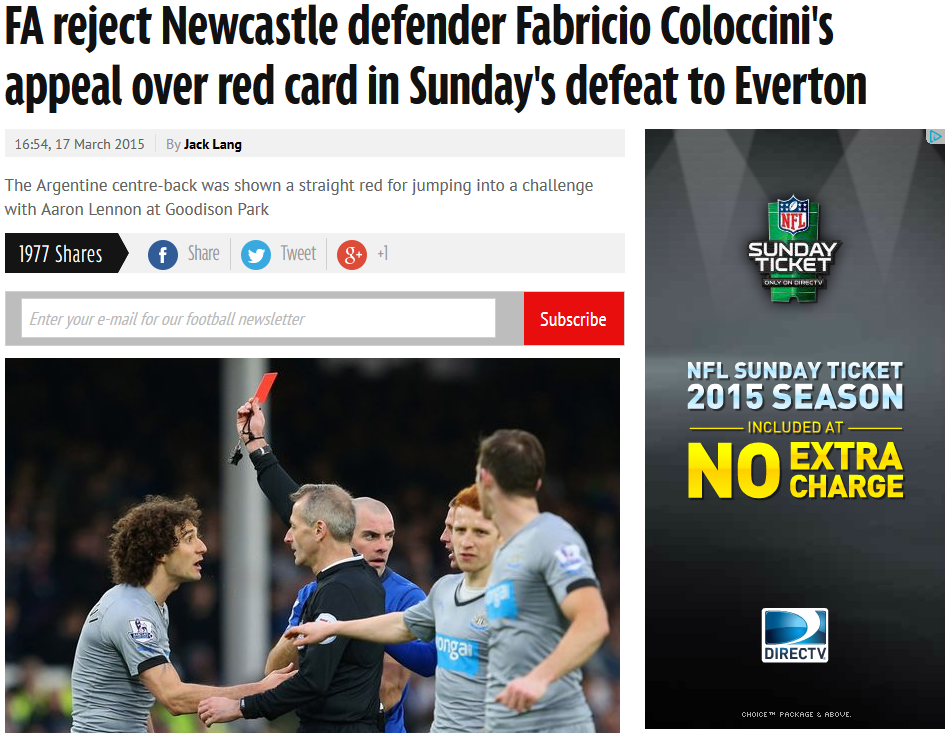 Newcastle red card